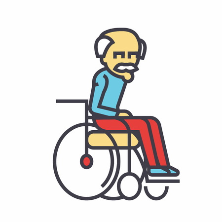 Elder man in wheelchair concept. Line vector icon. Editable stroke. Flat linear illustration isolated on white background