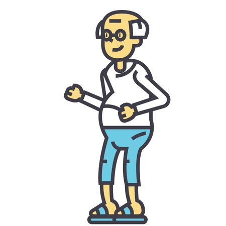 高齢者男、祖父の概念。行ベクトルのアイコン。編集可能なストローク。白い背景に分離された平面線形図