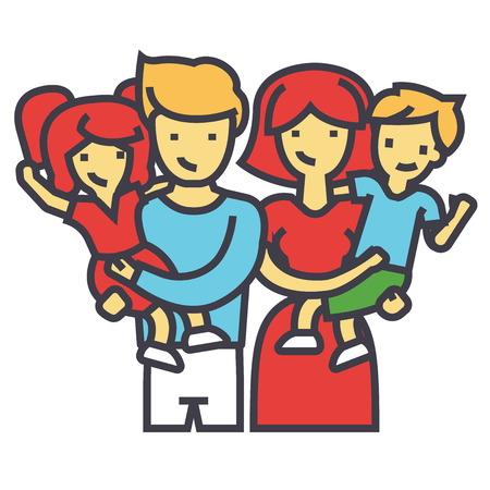 Happy family portrait standing together, parents holding children in their arms concept. Line vector icon. Editable stroke. Flat linear illustration isolated on white background