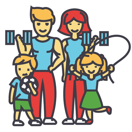 Active sport family, happy parents and children in gym, workout exercises concept. Line vector icon. Editable stroke. Flat linear illustration isolated on white background Illustration