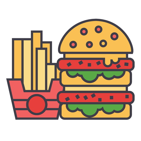 Fast food, burger and french fries concept. Line vector icon. Editable stroke. Flat linear illustration isolated on white background Çizim