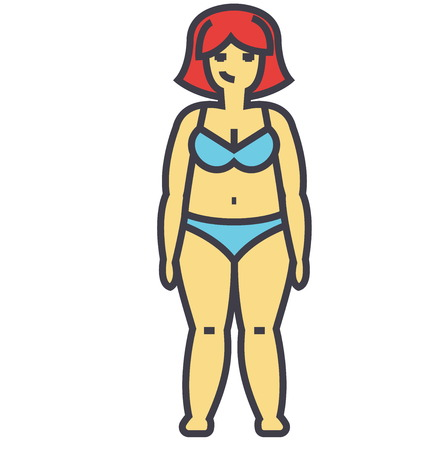 Fat woman before diet concept. Line vector icon. Editable stroke. Flat linear illustration isolated on white background