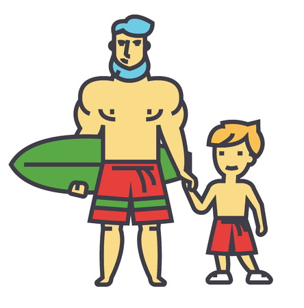 Happy father with son on vacation with surfing board concept. Line vector icon. Editable stroke. Flat linear illustration isolated on white background Illustration