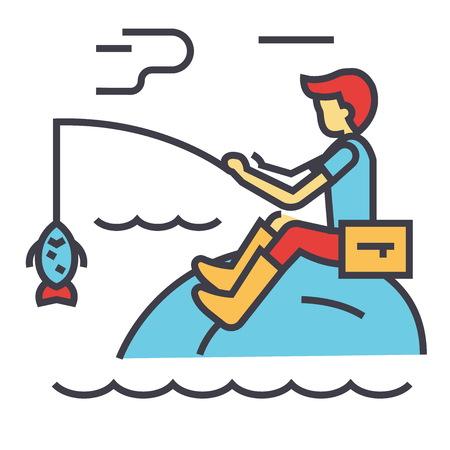ロッド コンセプトと釣り人。行ベクトルのアイコン。編集可能なストローク。白い背景に分離された平面線形図
