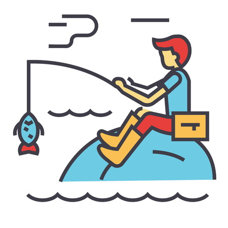 Fishing man with rod concept. Line vector icon. Editable stroke. Flat linear illustration isolated on white background Ilustrace