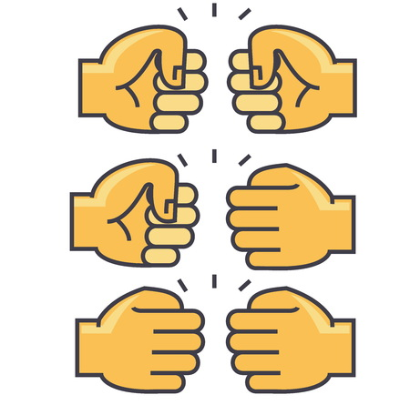 Fist bump, union, friendship concept. Line vector icon. Editable stroke. Flat linear illustration isolated on white background Çizim