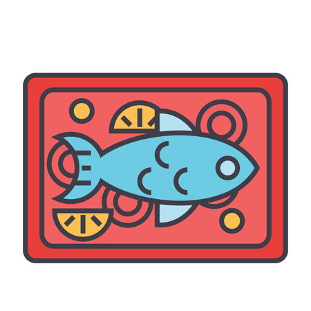 Fish restaurant dish concept. Line vector icon. Editable stroke. Flat linear illustration isolated on white background Ilustração