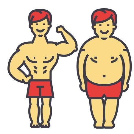 ダイエットやフィットネス、前後に重量、脂肪質の人を失う男痩身若い男が、男性は、重量を失うのコンセプト。行ベクトルのアイコン。編集可能