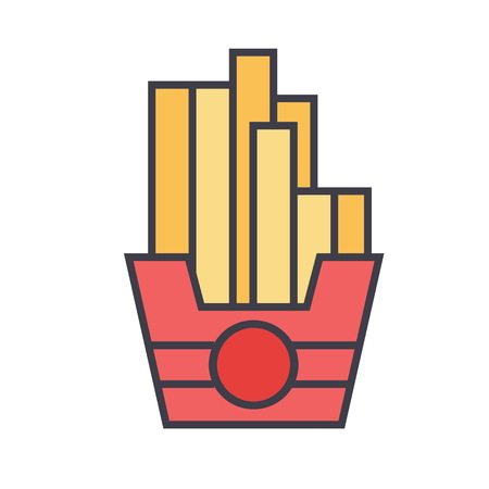 French fries concept. Line vector icon. Editable stroke. Flat linear illustration isolated on white background