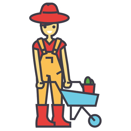 Gardener character, working in garden, man with wheelbarrow, farmer concept. Line vector icon. Editable stroke. Flat linear illustration isolated on white background Illustration