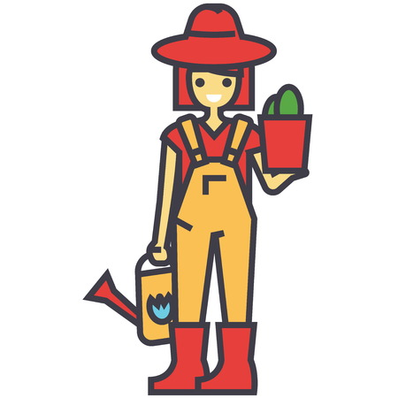 Gardener woman with plant and watering can, working in garden, farmer concept. Line vector icon. Editable stroke. Flat linear illustration isolated on white background