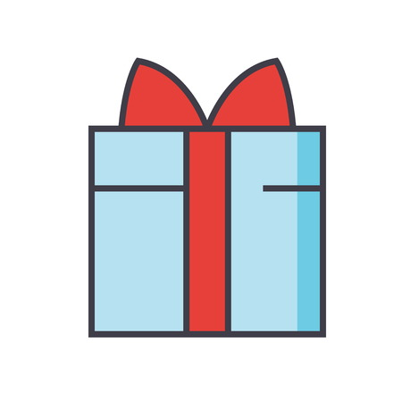 Gift wrapped box concept. Line vector icon. Editable stroke. Flat linear illustration isolated on white background Illustration