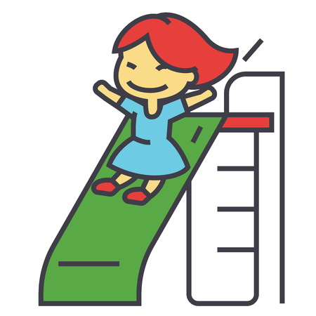 Girl on children slide, playing kid, kindergarten concept. Line vector icon. Editable stroke. Flat linear illustration isolated on white background