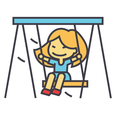 Little girl on swing in kindergarten concept. Line vector icon. Editable stroke. Flat linear illustration isolated on white background