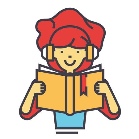 女の子はヘッドフォンのコンセプトで本を読んで。行ベクトルのアイコン。編集可能なストローク。白い背景に分離された平面線形図  イラスト・ベクター素材