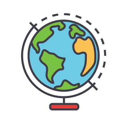 Globus concept. Line vector icon. Editable stroke. Flat linear illustration isolated on white background Illustration