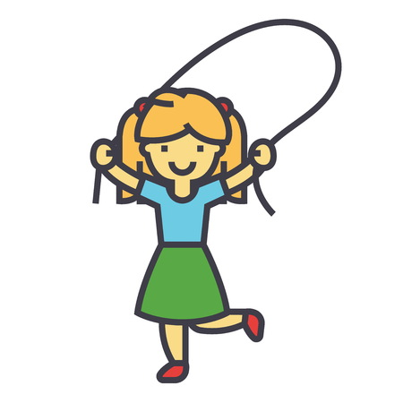 computer art: Girl with jumping rope concept. Line vector icon. Editable stroke. Flat linear illustration isolated on white background Illustration