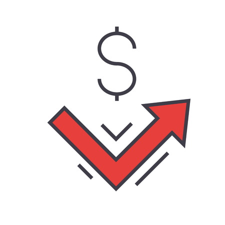 Growth up, big money, profit, finance concept. Line vector icon. Editable stroke. Flat linear illustration isolated on white background Illustration