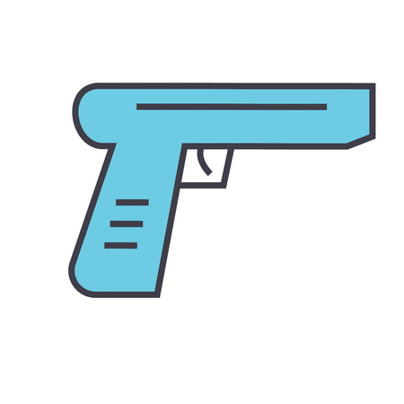 Gun concept. Line vector icon. Editable stroke. Flat linear illustration isolated on white background Ilustração