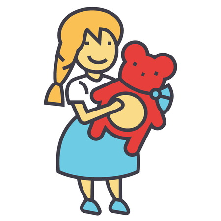 Girl with teddy bear concept. Line vector icon. Editable stroke. Flat linear illustration isolated on white background Illustration