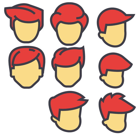 Avatars, male users, red hairs concept. Line vector icon. Editable stroke. Flat linear illustration isolated on white background