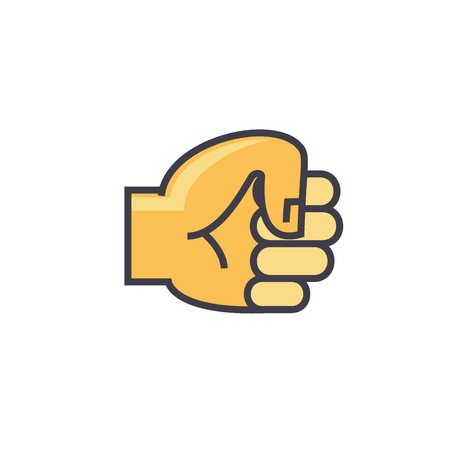 Fist hand concept. Line vector icon. Editable stroke. Flat linear illustration isolated on white background