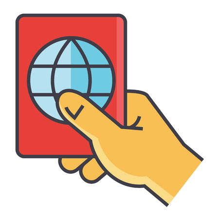 Man holding in hand his passport, personal identification, travel pass concept. Line vector icon. Editable stroke. Flat linear illustration isolated on white background Illustration
