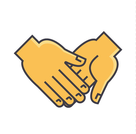 Hand holding anything concept. Line vector icon. Editable stroke. Flat linear illustration isolated on white background