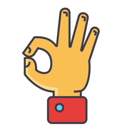 Hand gesture symbolizing ok, agreement concept. Line vector icon. Editable stroke. Flat linear illustration isolated on white background