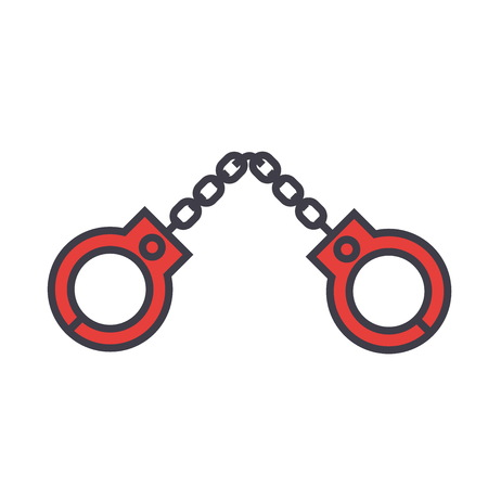 Handcuffs concept. Line vector icon. Editable stroke. Flat linear illustration isolated on white background Ilustrace