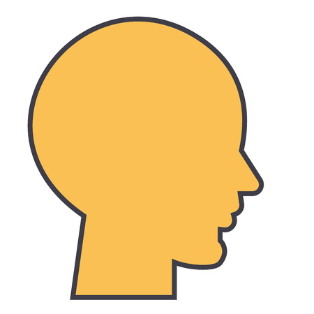Menselijk hoofd, mannelijk profielconcept. Lijn vector pictogram. Bewerkbare lijn. Vlakke lineaire illustratie die op witte achtergrond wordt geïsoleerd Stock Illustratie