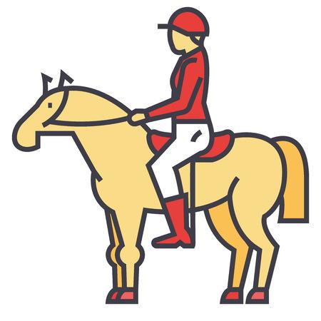 경주 말, 라이더, 기병, 기 수, 경주 개념. 라인 벡터 아이콘입니다. 편집 가능한 획. 흰색 배경에 고립 된 평면 선형 그림 일러스트