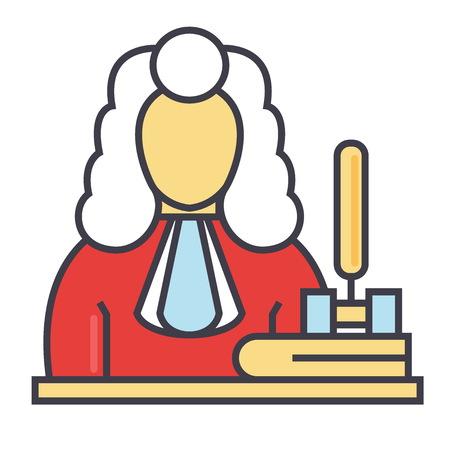 판사, 망치, 정의, 법률 개념. 라인 벡터 아이콘입니다. 편집 가능한 획. 평면 선형 그림 흰색 배경에 고립 된