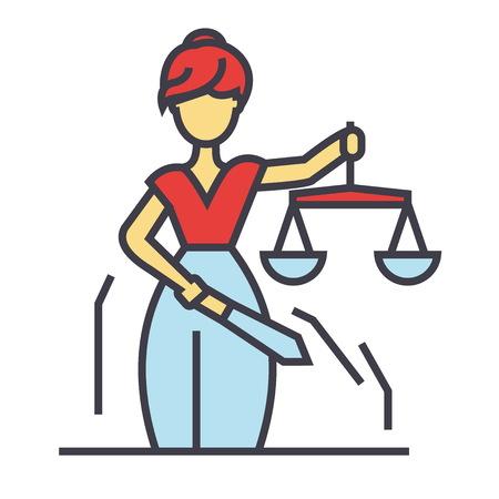 正義像、テミス Femida 法の概念。行ベクトルのアイコン。編集可能なストローク。白い背景に分離された平面線形図