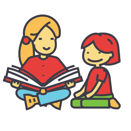 Kindergarten teacher, woman reading book to child concept. Line vector icon. Editable stroke. Flat linear illustration isolated on white background