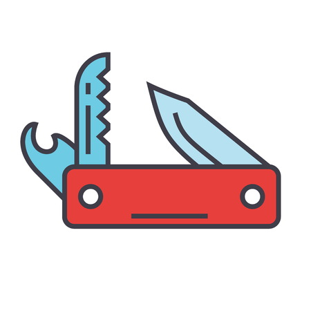Knife army multipurpose, swiss folding knife concept. Line vector icon. Editable stroke. Flat linear illustration isolated on white background Illustration