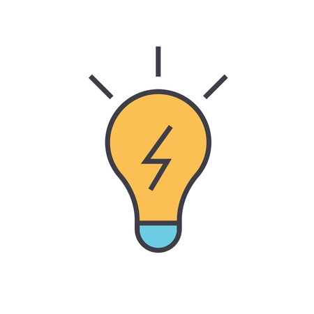 Lamp idea concept. Line vector icon. Editable stroke. Flat linear illustration isolated on white background Иллюстрация