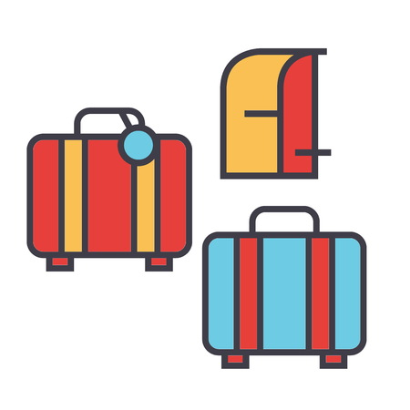 Luggage concept. Line vector icon. Editable stroke. Flat linear illustration isolated on white background Çizim