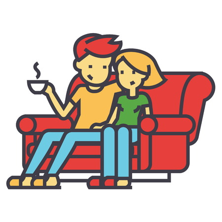 Man and woman sitting on the sofa at home concept. Line vector icon. Editable stroke. Flat linear illustration isolated on white background