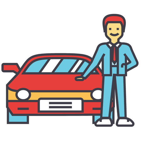 Man buying new car, auto dealer, vehicle dealership, automobile sale, sell transport, agent, salesman concept. Line vector icon. Editable stroke. Flat linear illustration isolated on white background Illustration