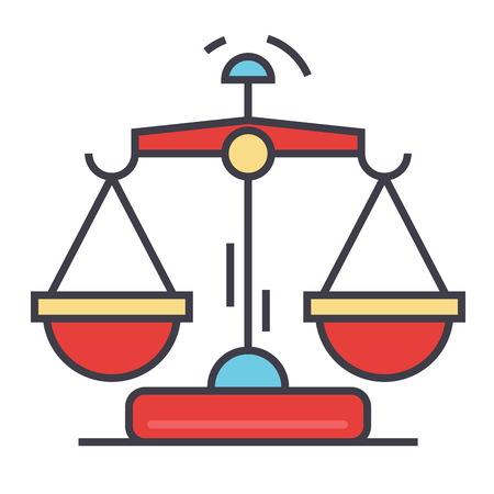 법률 및 정의 비늘 개념입니다. 라인 벡터 아이콘입니다. 편집 가능한 획. 평면 선형 그림 흰색 배경에 고립 된