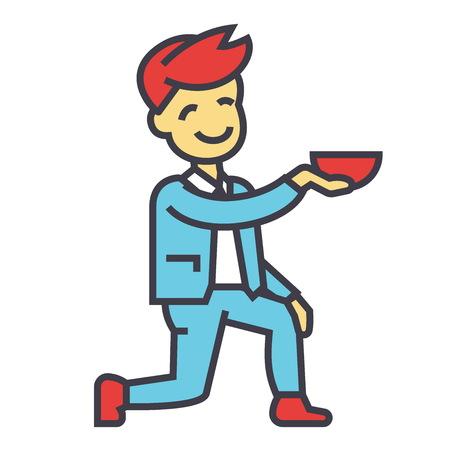 El hombre se pone de rodillas, concepto de acuerdo de boda. Icono de vector de línea. Trazo editable Ilustración lineal plana aislada sobre fondo blanco Foto de archivo - 83978797