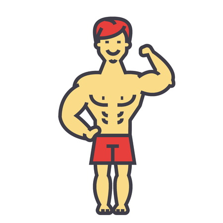 Strong man, bodybuilder, muscles concept. Line vector icon. Editable stroke. Flat linear illustration isolated on white background