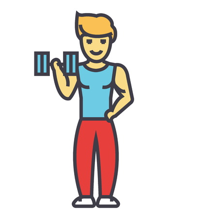 Strong man doing exercises with weights in gym concept. Line vector icon. Editable stroke. Flat linear illustration isolated on white background