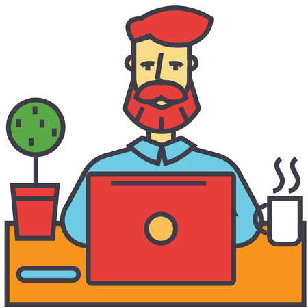 couching: Man with beard working on notebook computer, businessman, make money online, education, freelance concept. Line vector icon. Editable stroke. Flat linear illustration isolated on white background Illustration