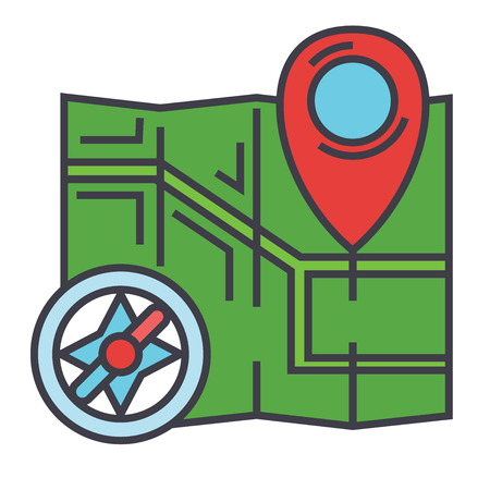 map pin: City map, navigation, compass concept. Line vector icon. Editable stroke. Flat linear illustration isolated on white background