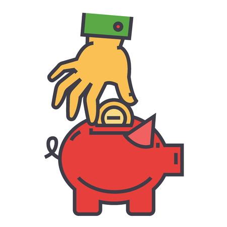 Geldvarken, besparingen, gelukkig spaarvarken, hand gezet muntstuk in veilig concept. Lijn vector pictogram. Bewerkbare streek. Vlakke lineaire illustratie die op witte achtergrond wordt geïsoleerd