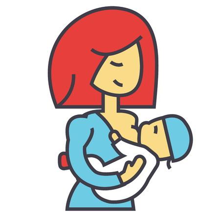 母親の母乳の赤ちゃん、母乳、概念を供給します。行ベクトルのアイコン。編集可能なストローク。白い背景に分離された平面線形図