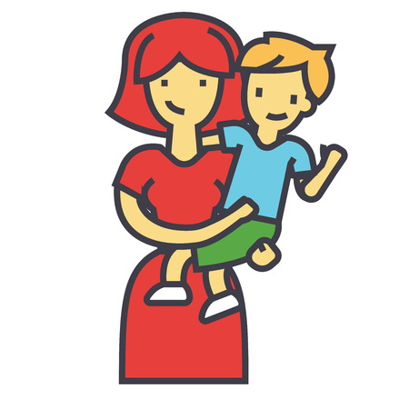 Happy mother with son, pretty mum embracing kid concept. Line vector icon. Editable stroke. Flat linear illustration isolated on white background 向量圖像