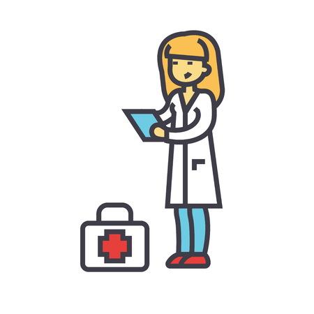 Nurse, doctor concept. Line vector icon. Editable stroke. Flat linear illustration isolated on white background Çizim